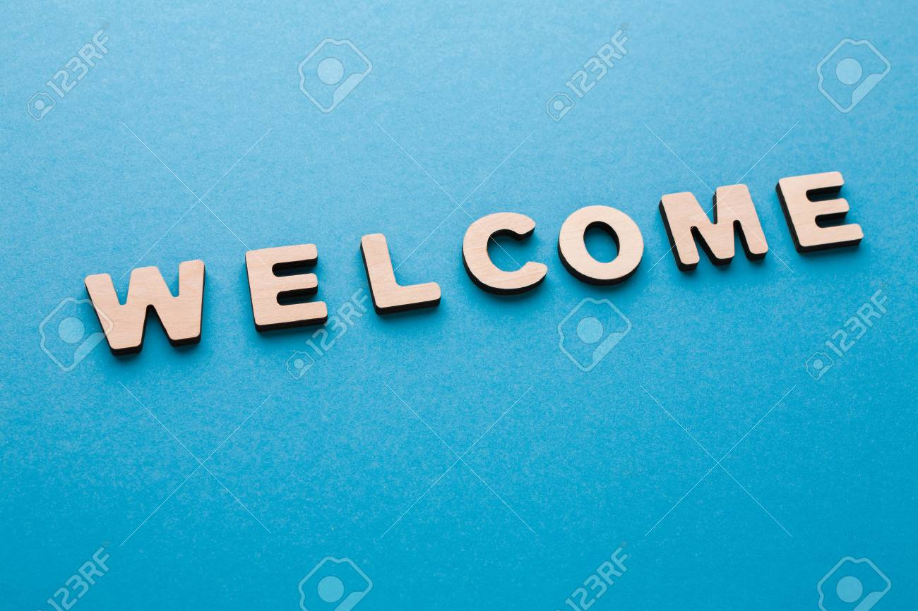 Word Welcome On Blue Background Greeting Hospitality Politeness