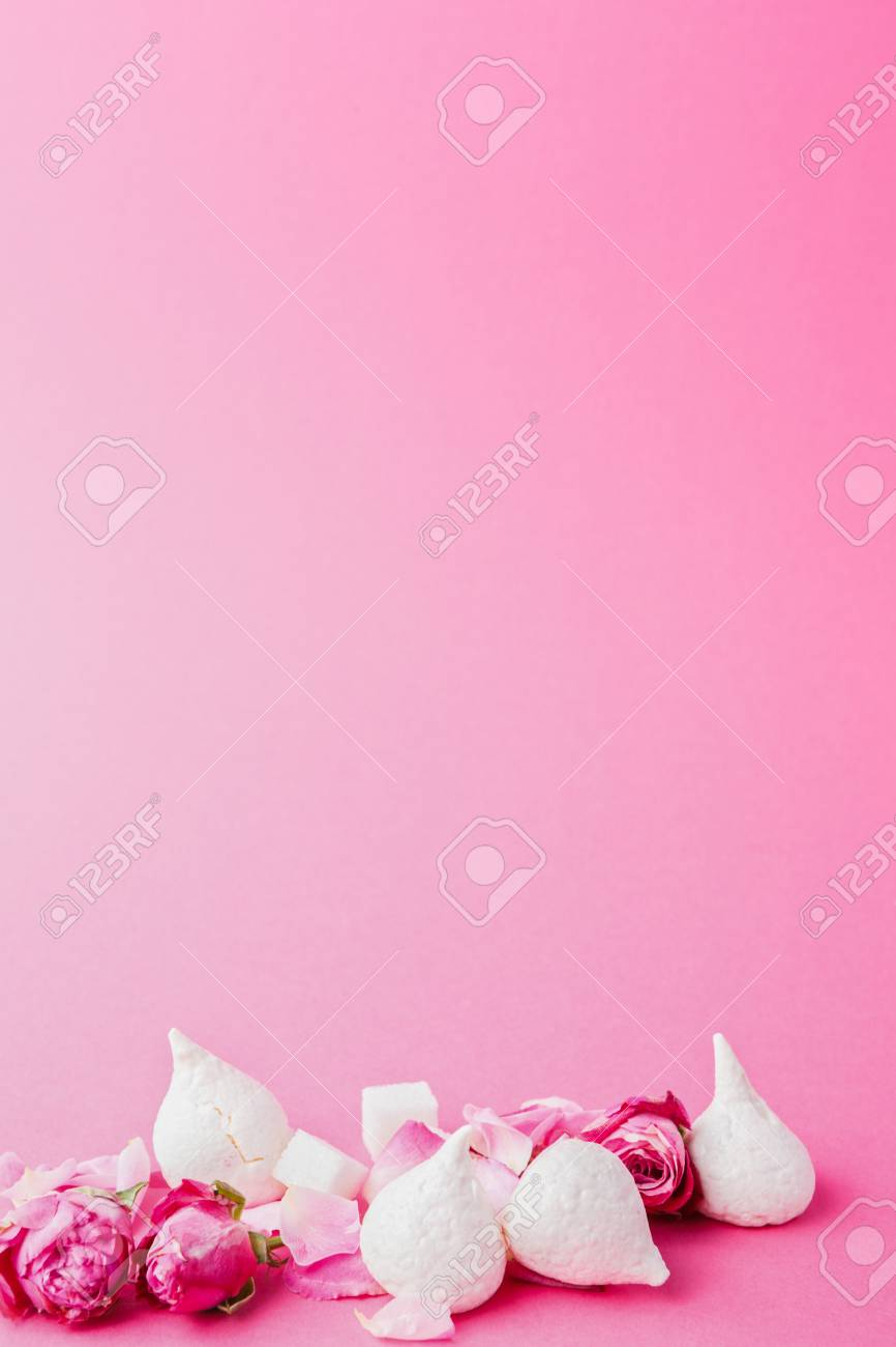 Sweets And Flowers At Pink Background French Meringues Rose