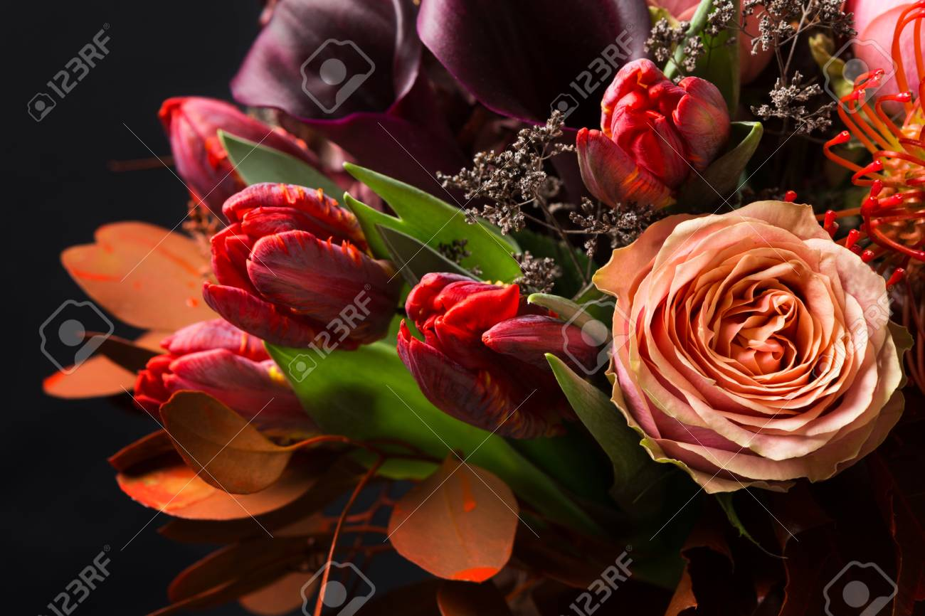 Colorful Fall Bouquet On Black Background Autumn Composition