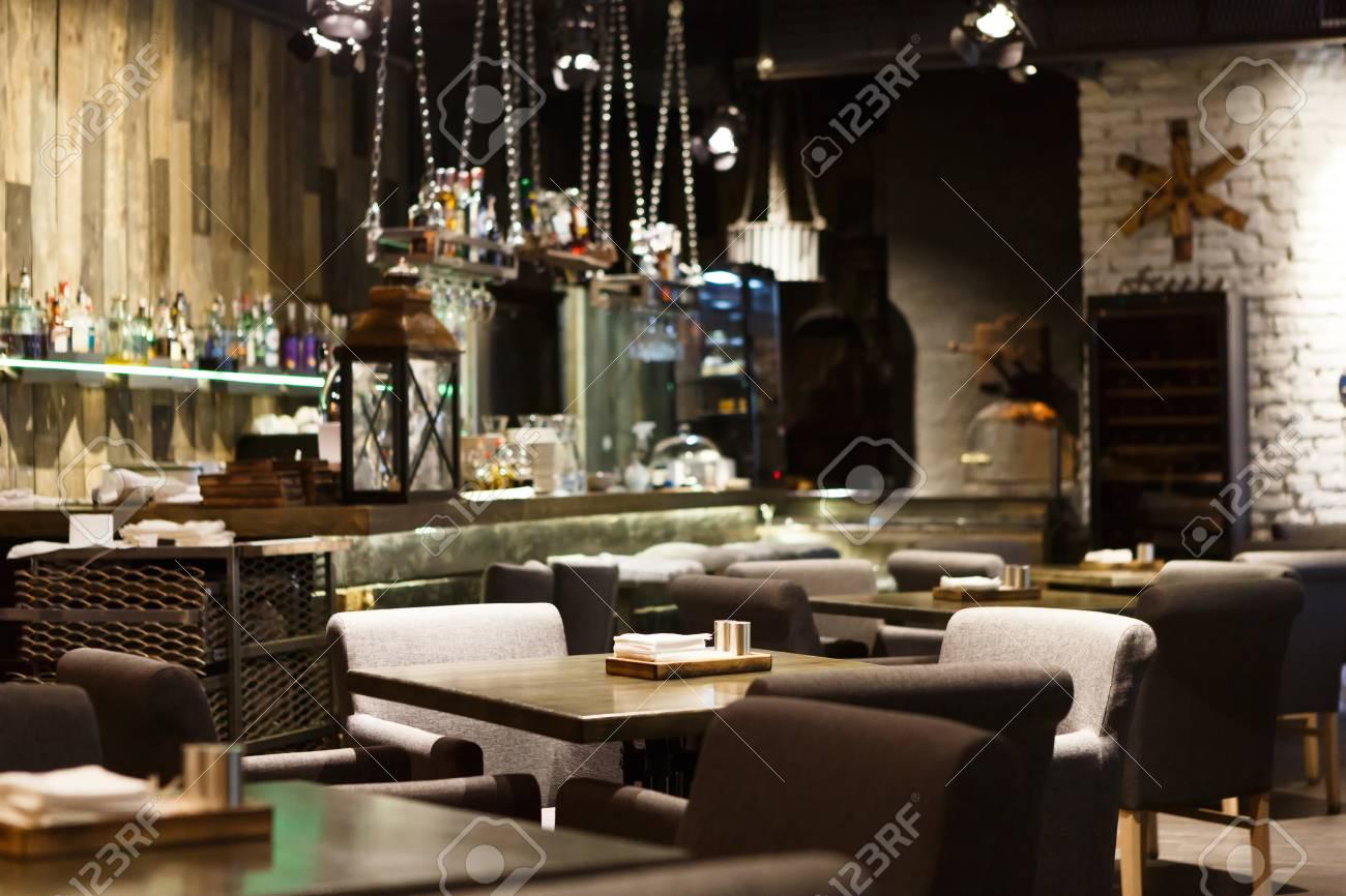 Interior of cozy restaurant. Contemporary design in loft style,..