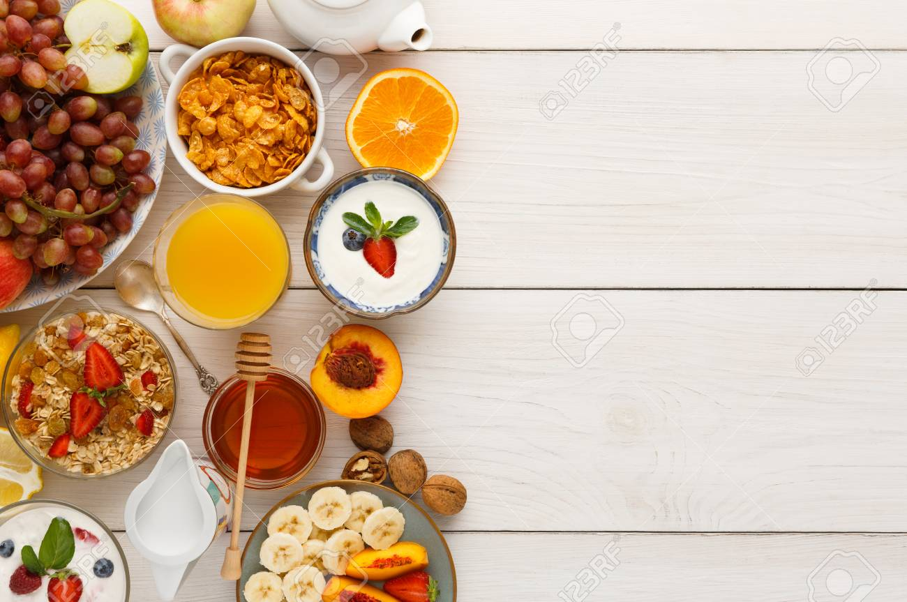 Rich Continental Breakfast Menu Background Delicious Natural Food For Tasty Morning Meals On Wooden Table