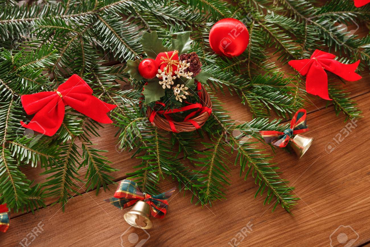 Christmas Tree Bows Red.Modern Christmas Tree Decorations Background Lots Of New Year