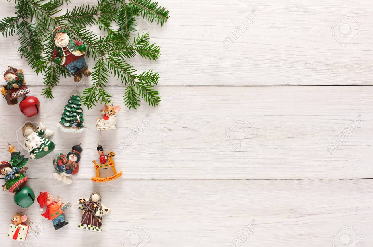 Christmas Gifts And Decorations Background On White Rustic Wood Stock Photo Picture And Royalty Free Image Image 89137171