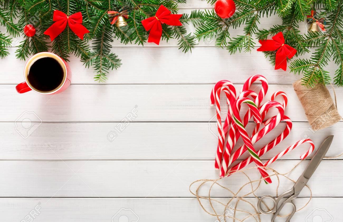Joyful Christmas Background. Beautiful Present Boxes, Traditional ...