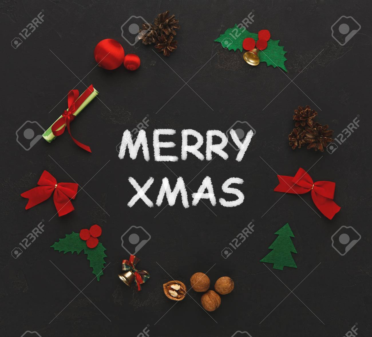 Merry Xmas Greeting Decoration Background Top View On Christmas