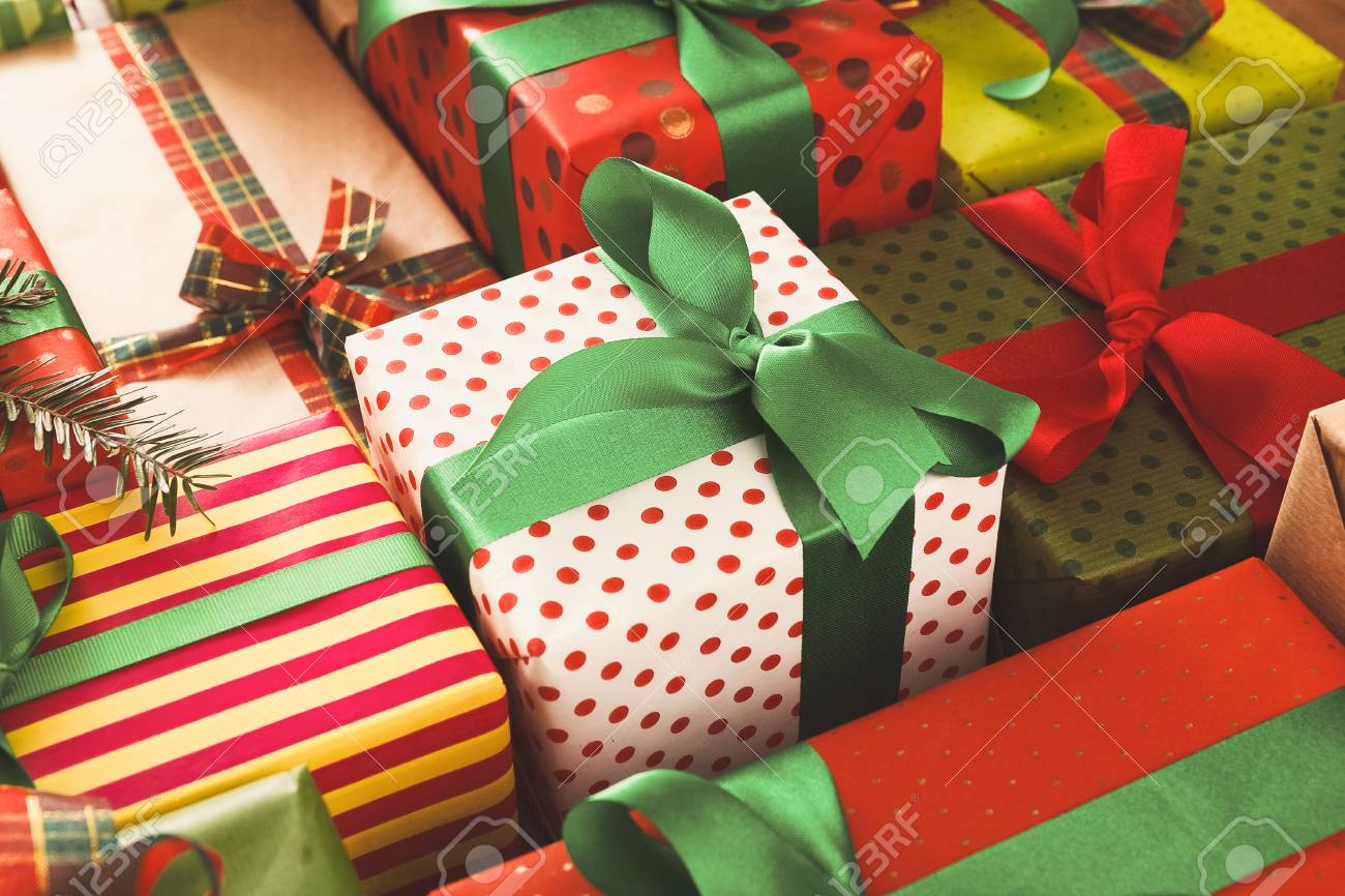 Christmas Gift Boxes Background Closeup Presents In Craft And Stock Photo Picture And Royalty Free Image Image 90193889