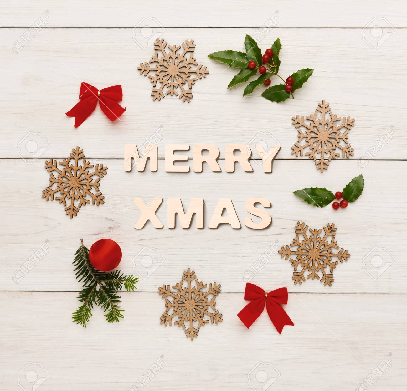 Merry Xmas Greeting, Decoration Background. Top View On Christmas ...