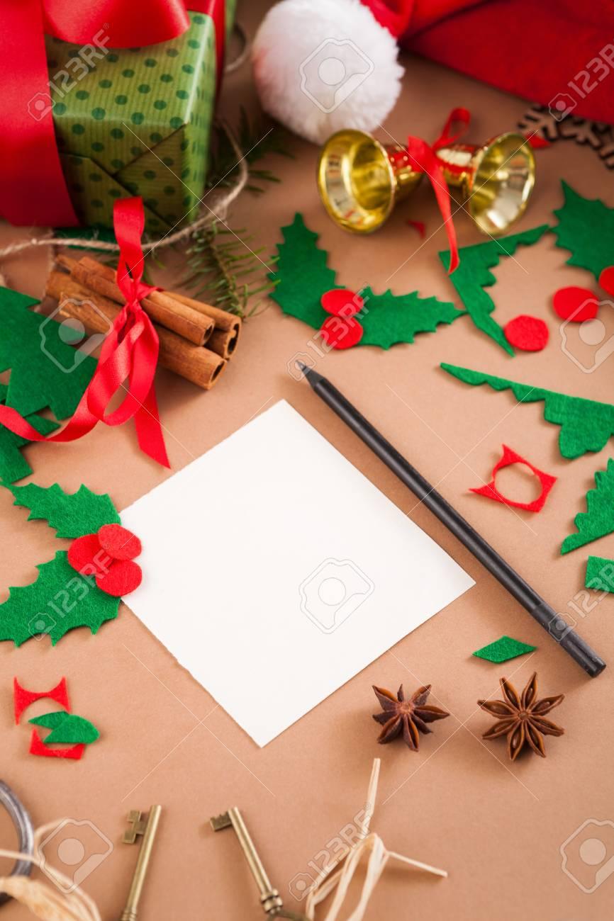 Creative Diy Craft Hobby Making Christmas Greeting Card On Table