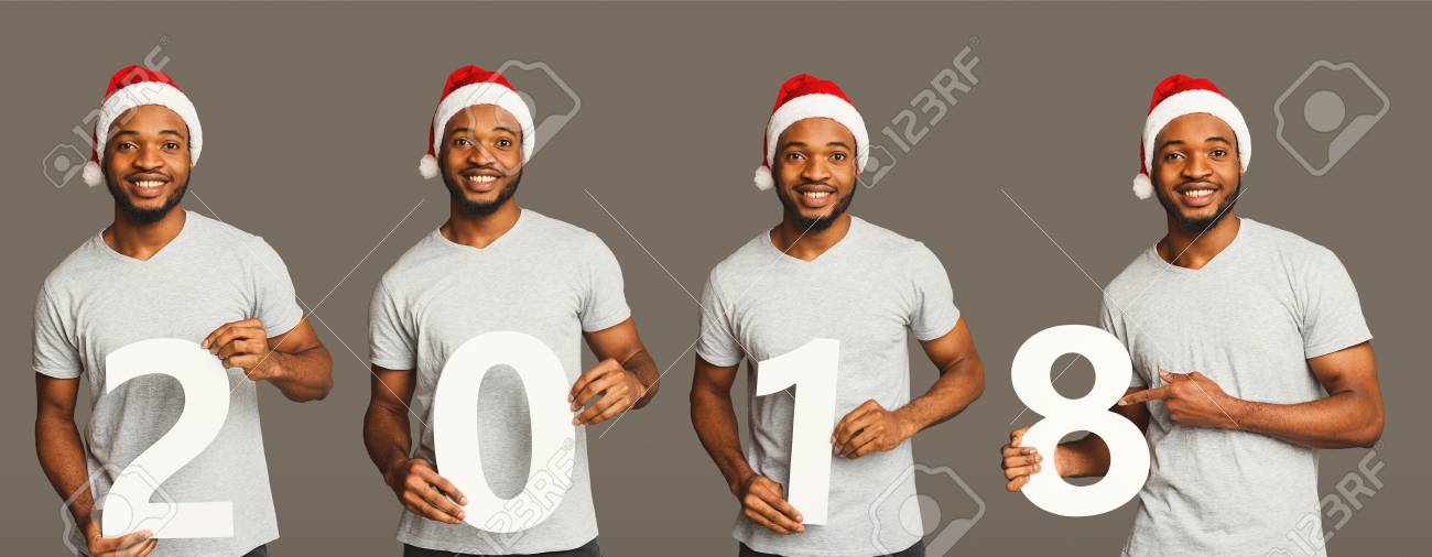set of happy black man with 2018 numbers portraits african american boy in santa