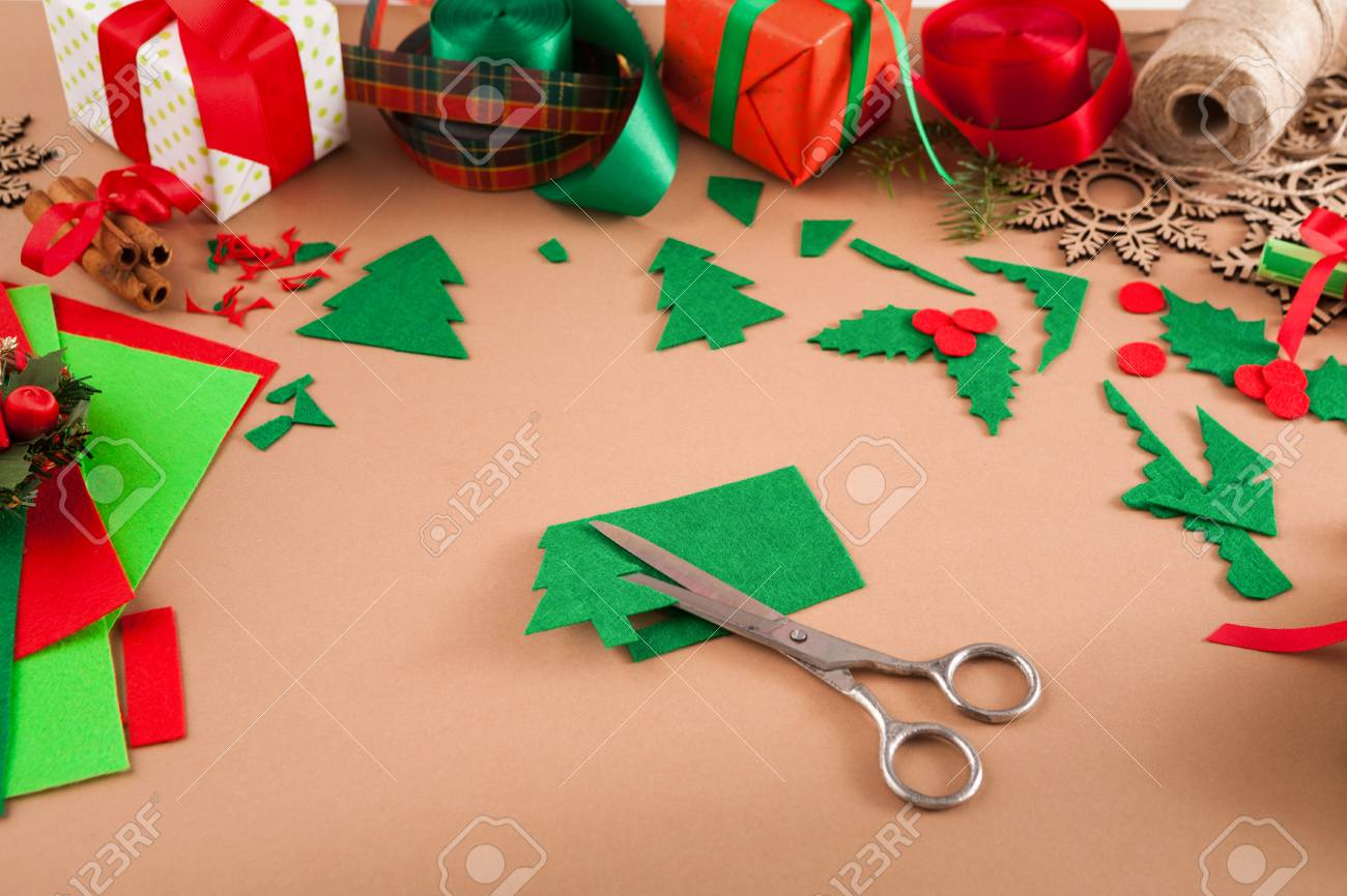 Creative Diy Craft Hobby Felt Christmas Tree Decoration On Table Stock Photo Picture And Royalty Free Image Image 90944155