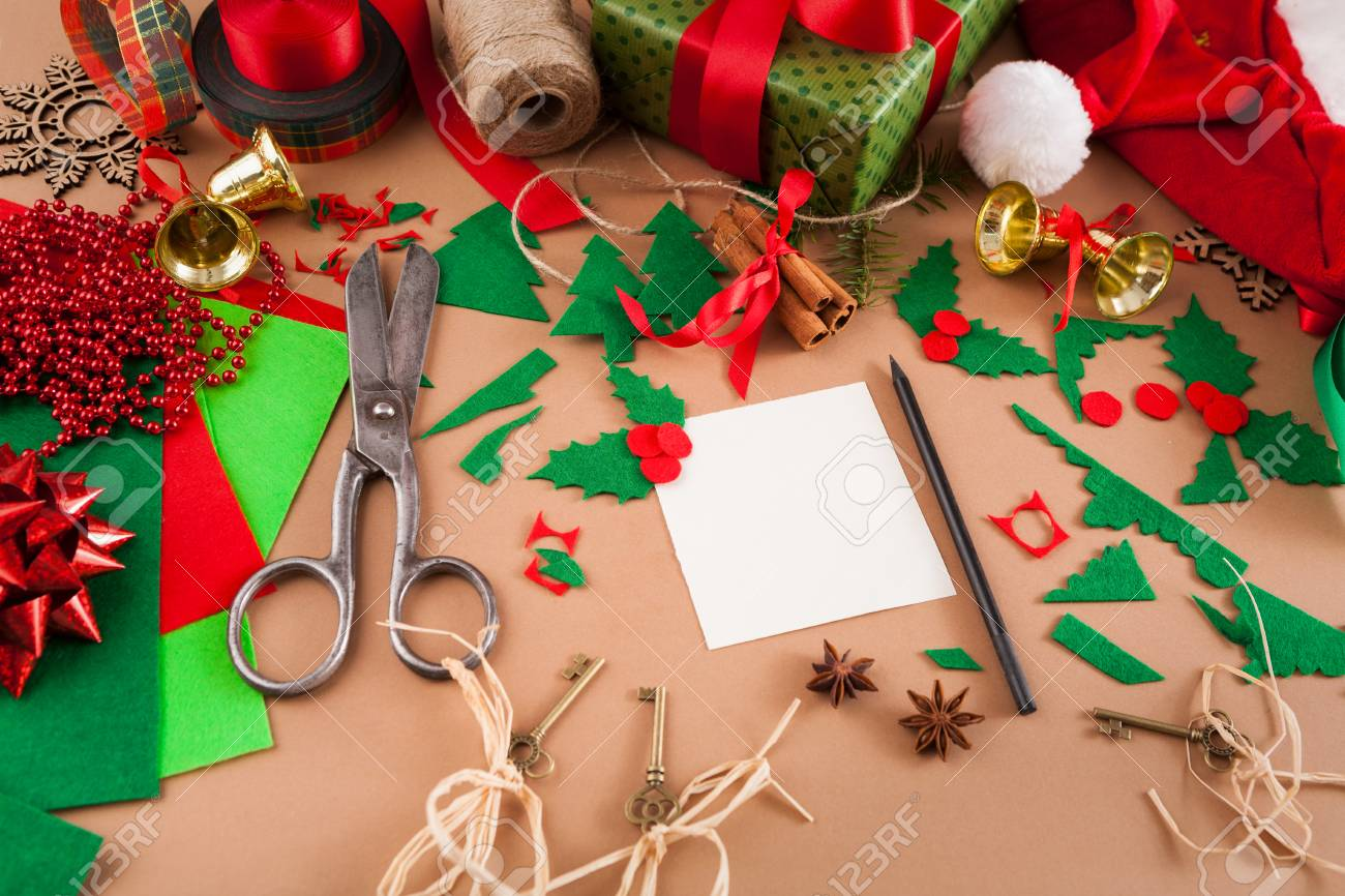 Creative Diy Craft Hobby. Decoration Of Greeting Card For Christmas.. Stock  Photo, Picture And Royalty Free Image. Image 91035036.