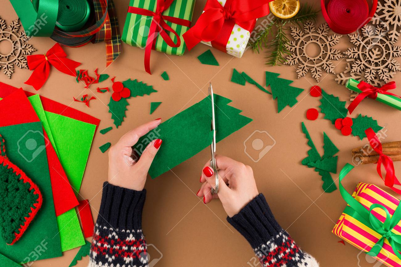 Creative Diy Craft Hobby Woman Makes Christmas Tree Decoration