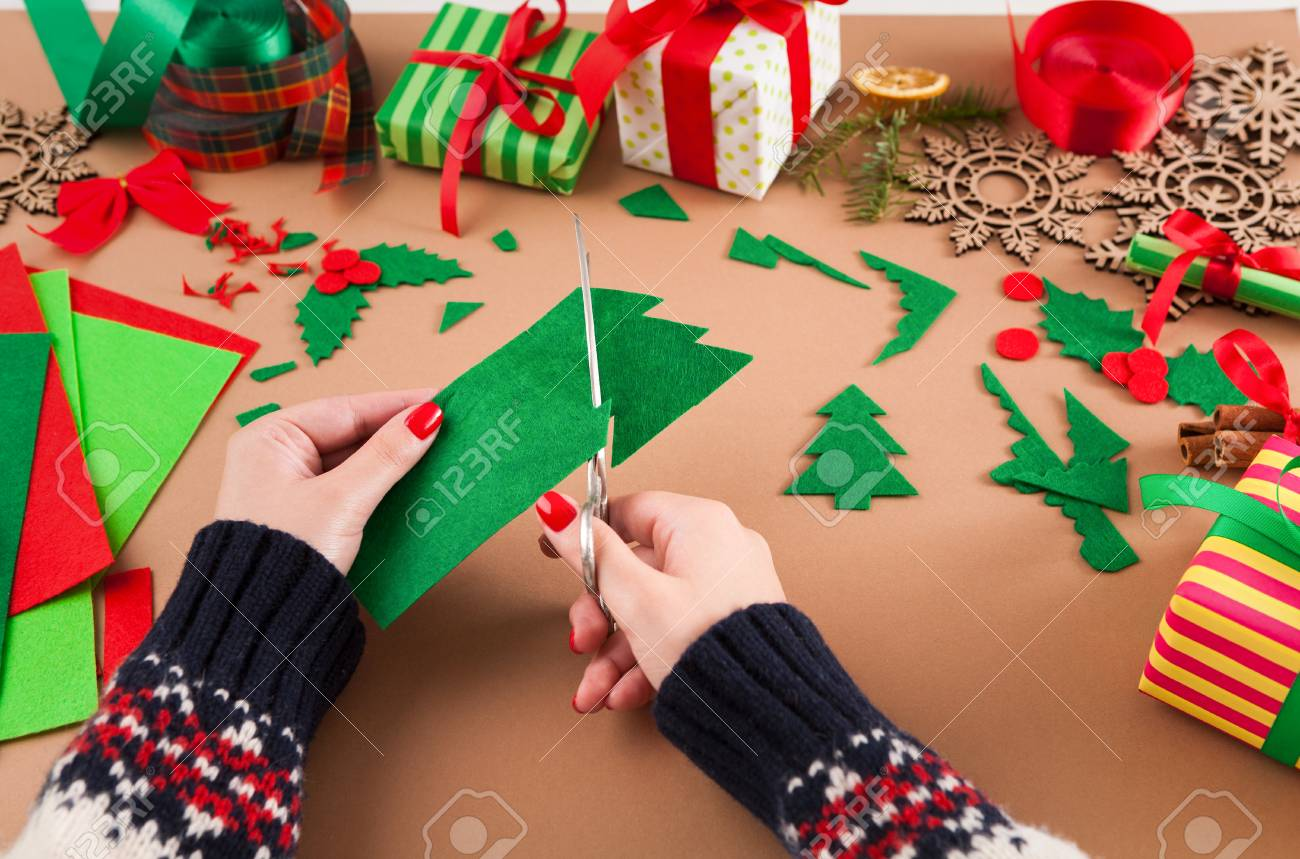 Creative Diy Craft Hobby Woman Makes Felt Christmas Tree Decoration Stock Photo Picture And Royalty Free Image Image 91475500
