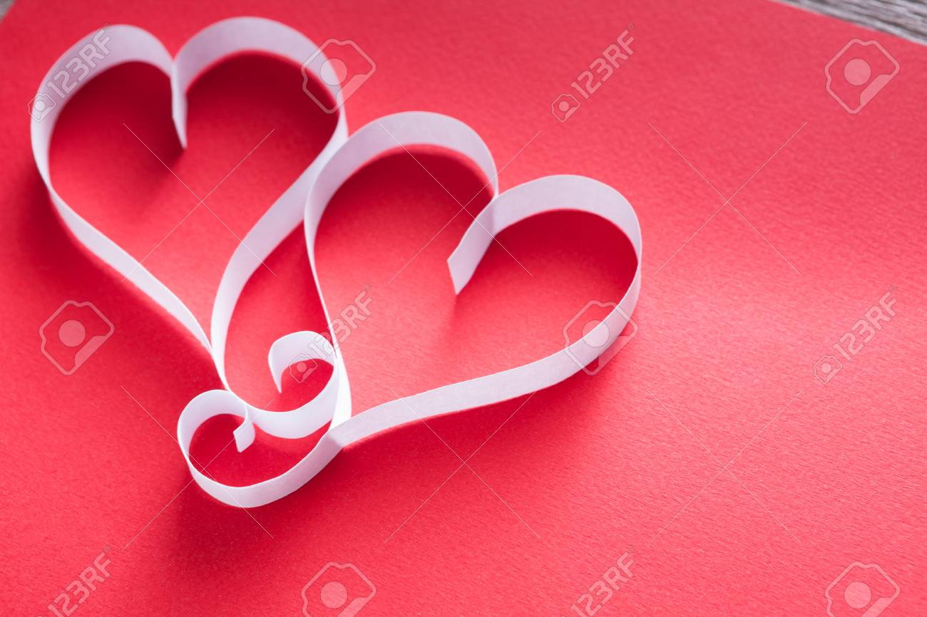 Valentine Background With Handmade Paper Heart Shapes Decoration