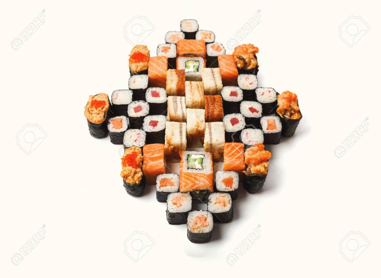 Sushi platter isolated on white background  Japanese food restaurant