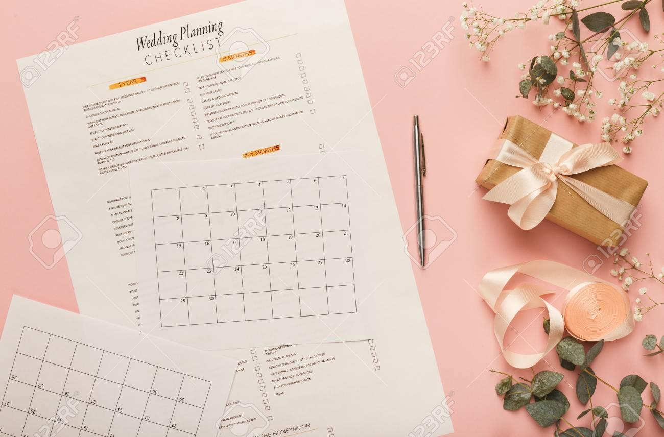 wedding background with checklist and calendar paper planners