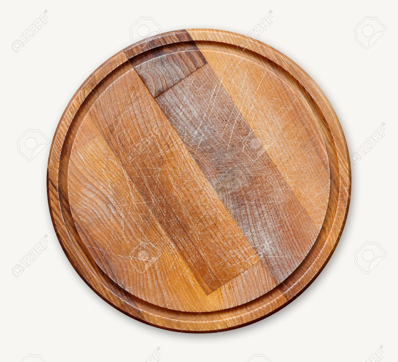 Round Wooden Cutting Board Isolated On White Background Closeup Stock Photo Picture And Royalty Free Image Image 93834353