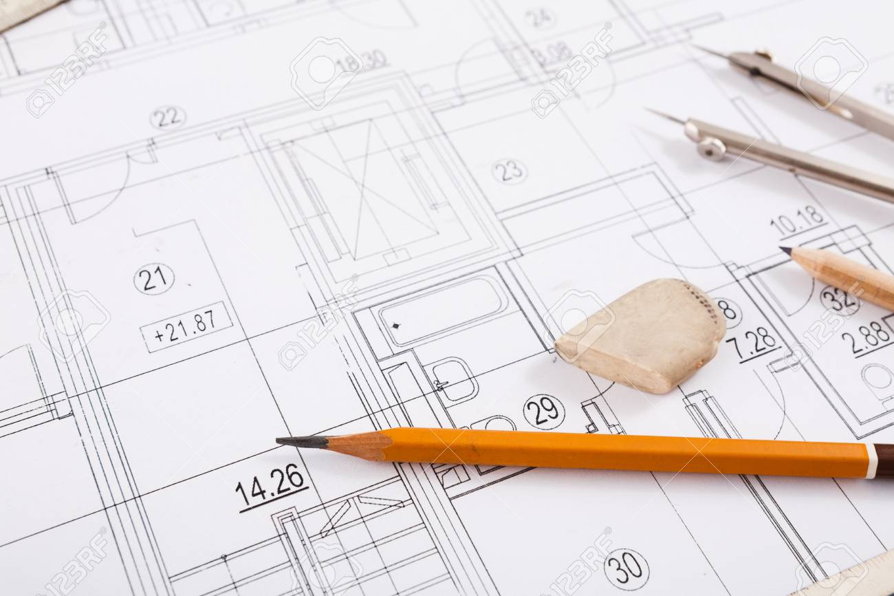 Workplace of architect divider pencil and ruler on blueprint stock photo workplace of architect divider pencil and ruler on blueprint creating new architectural project on table copy space malvernweather Image collections
