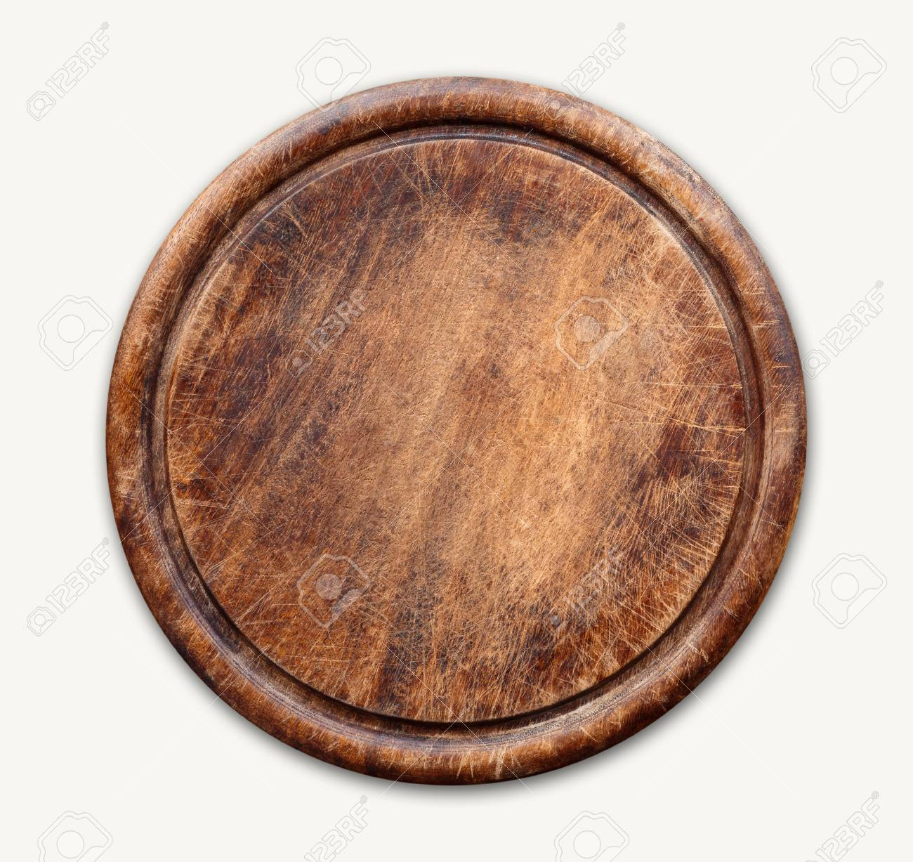 Round Wooden Cutting Board Isolated On White Background Closeup Stock Photo Picture And Royalty Free Image Image 94068053