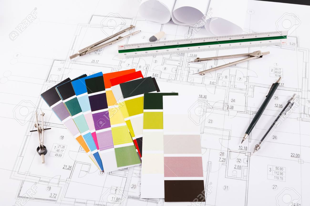 Workplace of architect divider pencil and color swatch on stock photo workplace of architect divider pencil and color swatch on blueprint creating new architectural project on table copy space malvernweather Gallery