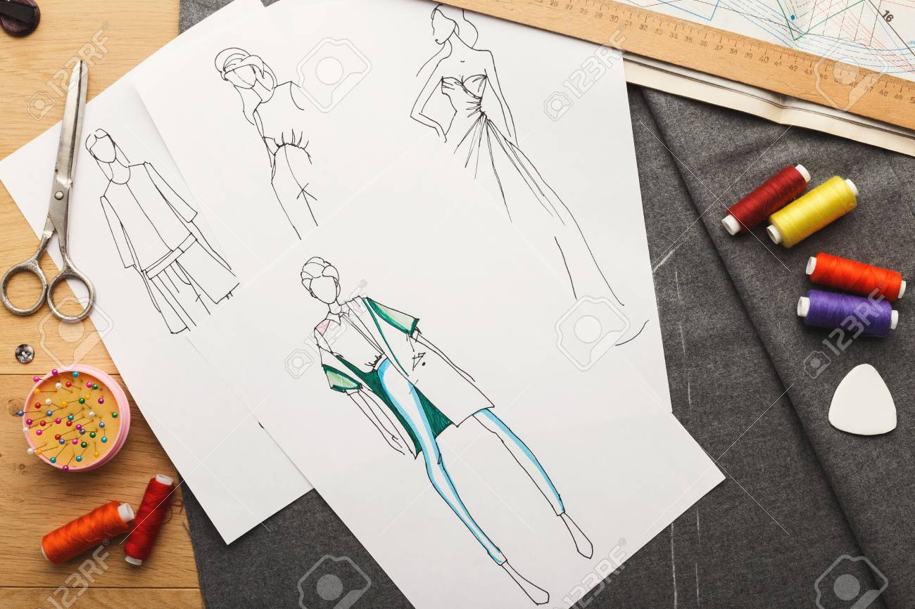 ec926506434ef New fashion collection background. Hand drawn sketches of clothes on white  board