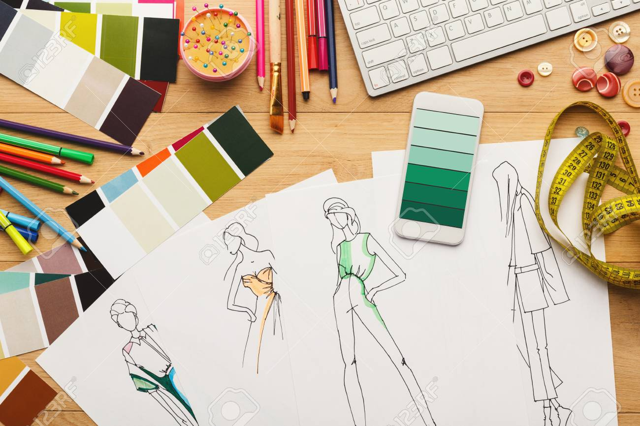 40729e5a73f9d Creating New Fashion Collection Background. Hand Drawn Sketches ...