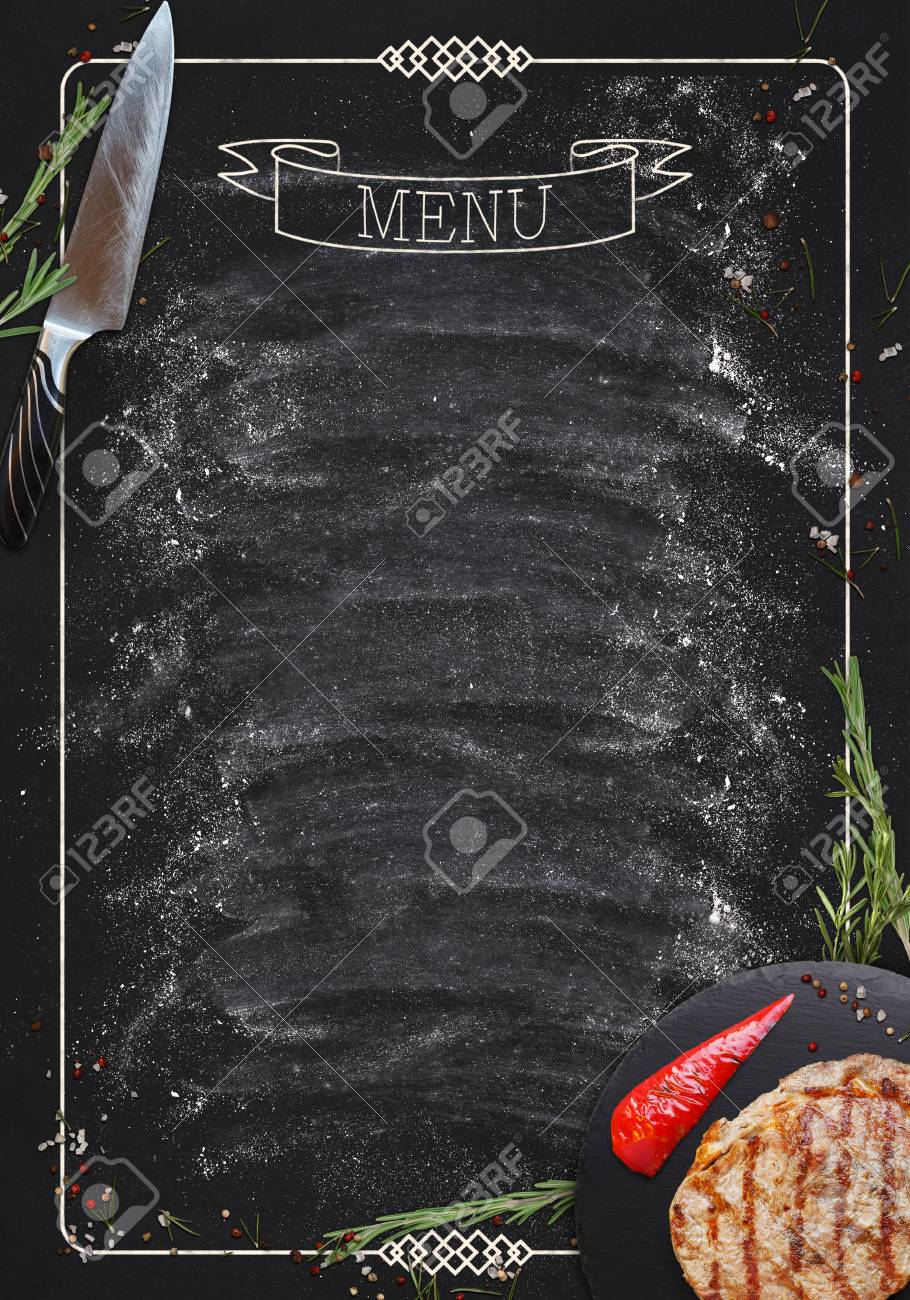 Design Concept For Restaurant Meat And Grill Menu Mockup Black Rustic Chalkboard With White Inscription