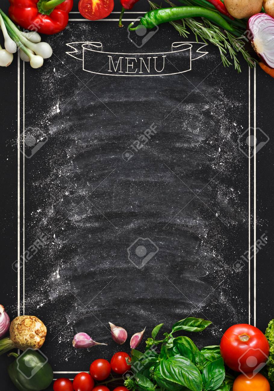Design Concept For Restaurant Menu Mockup Black Rustic Chalkboard With White Inscription And Vegetables Frame