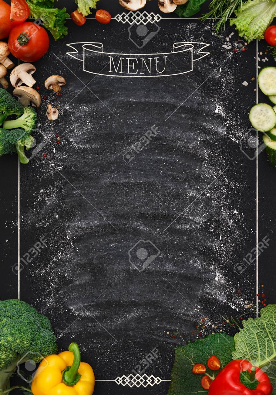 Design Concept For Restaurant Menu Mockup Black Rustic Chalkboard With White Inscription Stock Photo