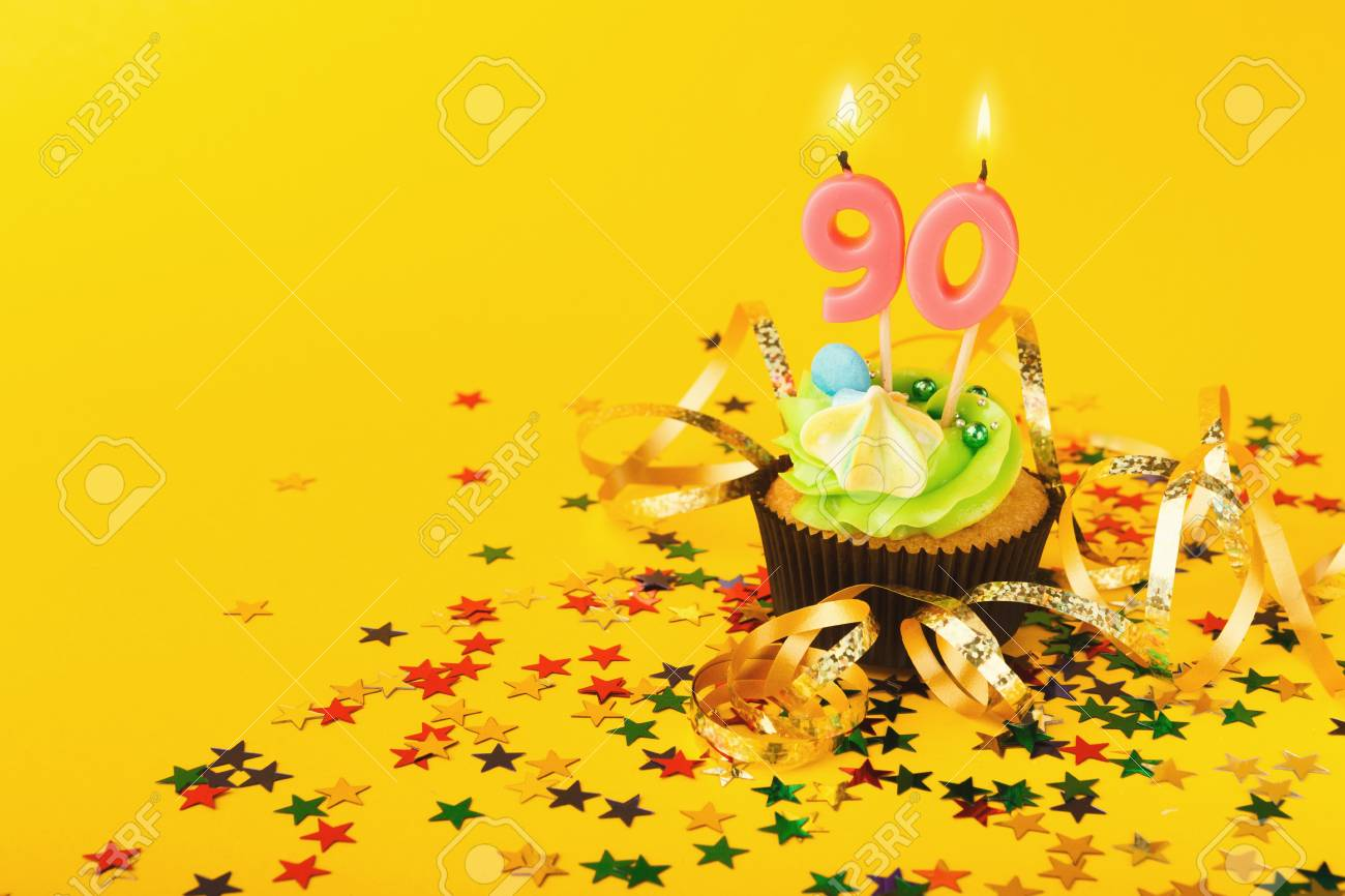 90th Birthday Cupcake With Candle And Sprinkles On Yellow Background Card Mockup Copy Space