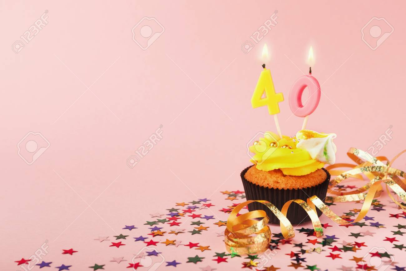 40th Birthday Cupcake With Candles Sprinkles And Ribbon On Pink Background Card Mockup