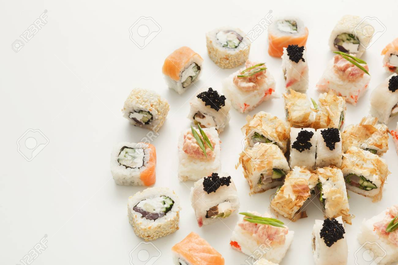 Circle of classic sushi rolls with caviar  Asian food restaurant