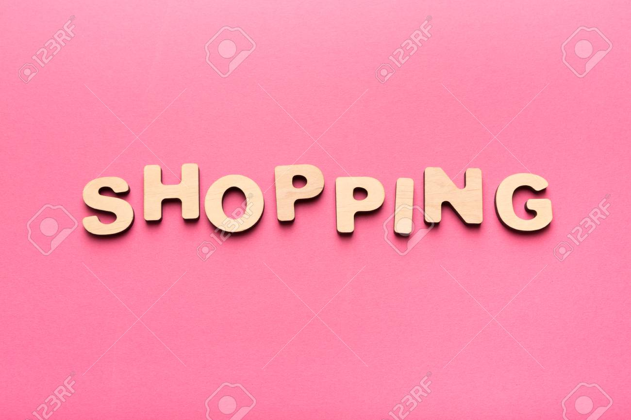 Shopping Word On Pink Background Top View On Wooden Letters Stock Photo Picture And Royalty Free Image Image 97336675