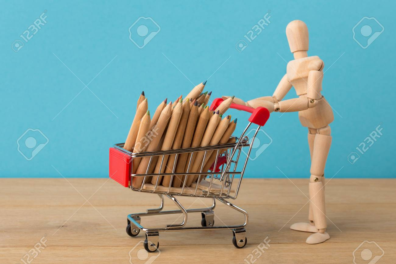 Wooden Mannequin With Miniature Toy Shopping Cart With Pencils