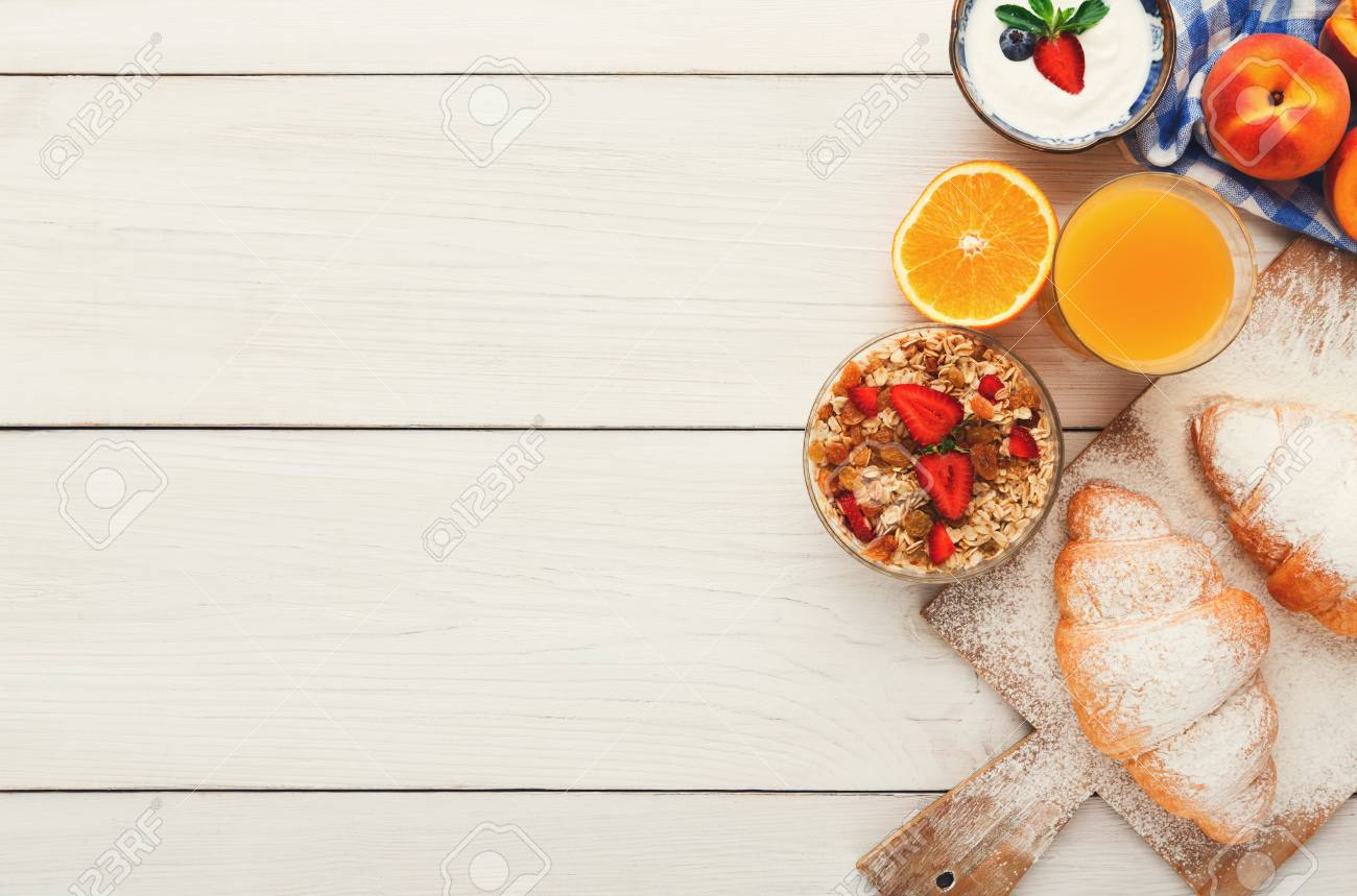 rich continental breakfast menu background. delicious natural