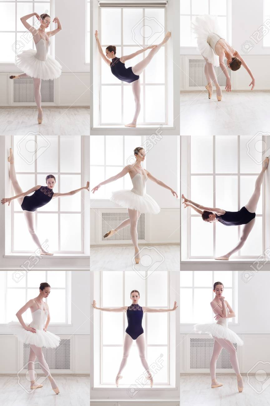 Set Of Young Ballerina Standing In Different Ballet Poses Sporty Stock Photo Picture And Royalty Free Image Image 100396961