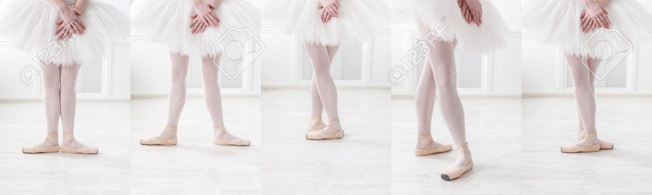 Set of young ballerina legs in different ballet positions  Sporty