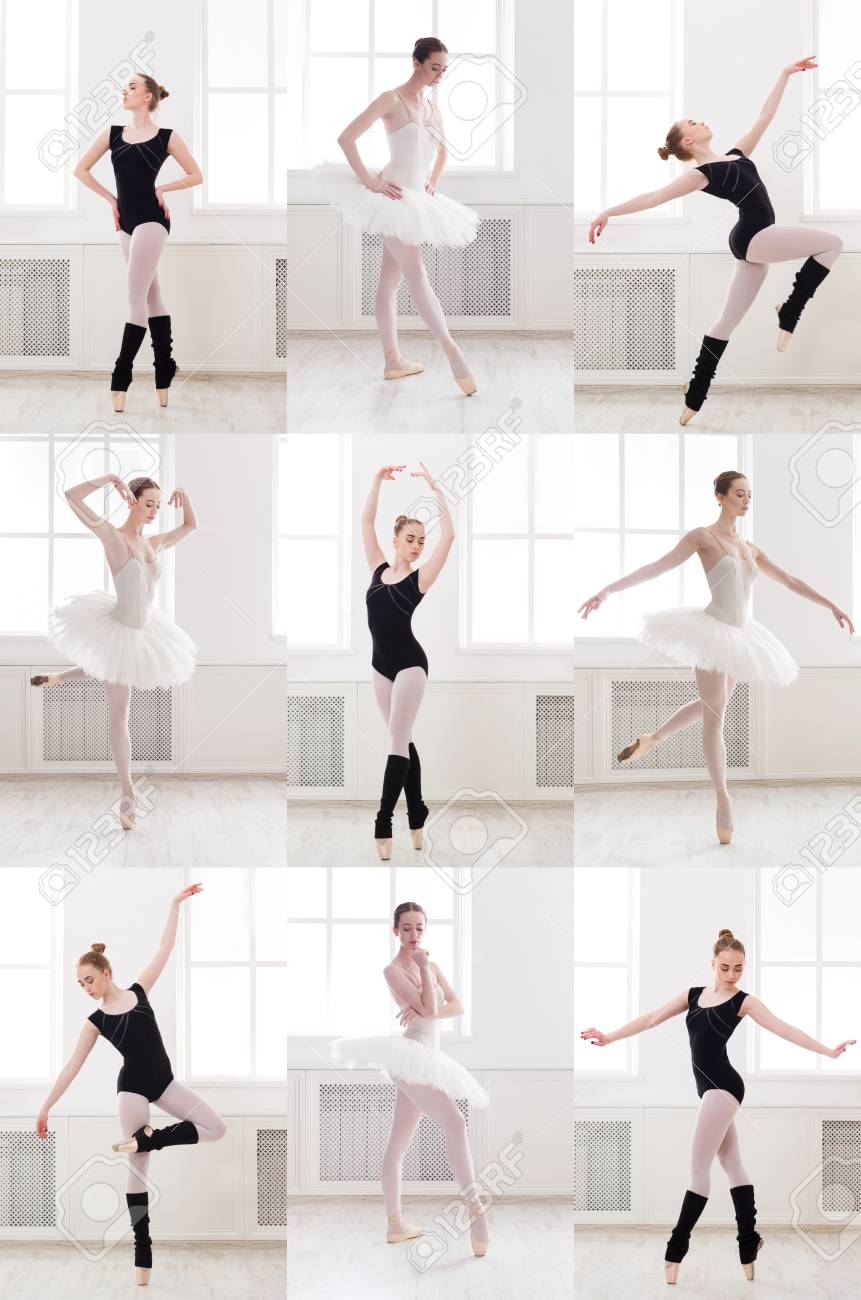 Set Of Young Ballerina Standing In Different Ballet Poses Sporty Stock Photo Picture And Royalty Free Image Image 100691837