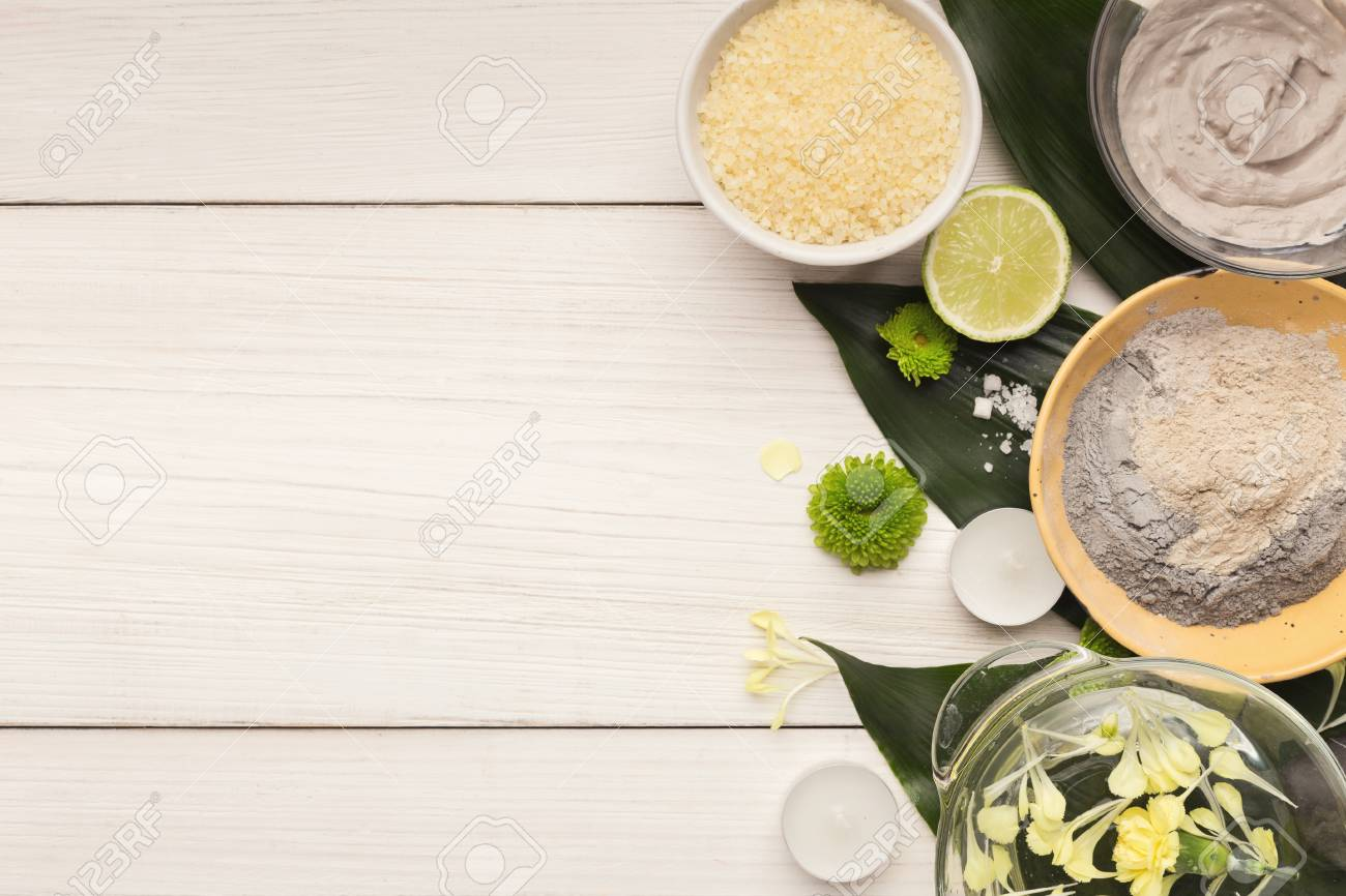 Spa Background Natural Skincare Products On Big Green Leaves Stock Photo Picture And Royalty Free Image Image 103956813