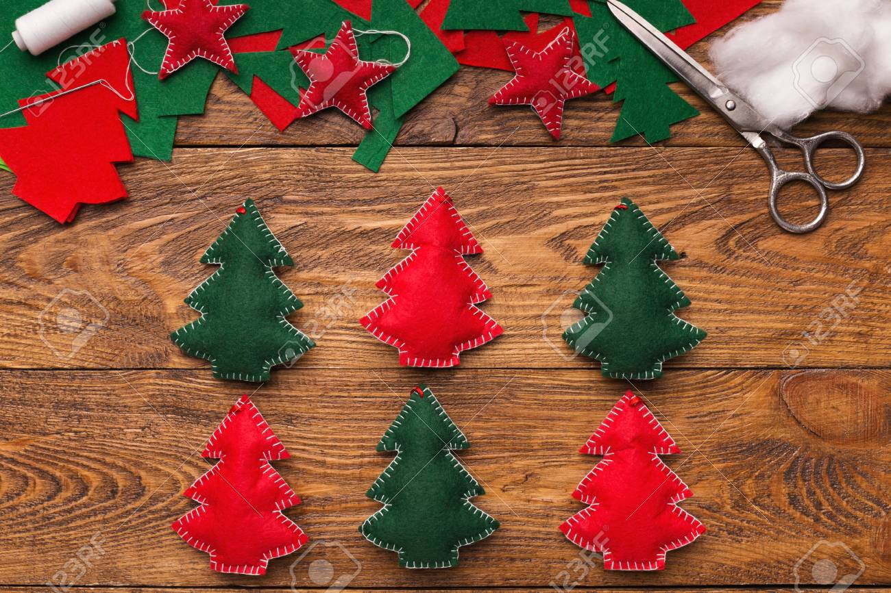 Green And Red Handmade Felt Christmas Trees Diy Xmas Decorations Stock Photo Picture And Royalty Free Image Image 108765230