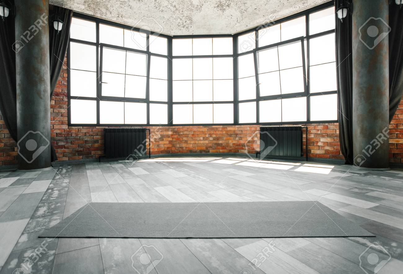 Empty Yoga Space In Loft Modern Studio With Yoga Mat On Floor Stock Photo Picture And Royalty Free Image Image 115087689