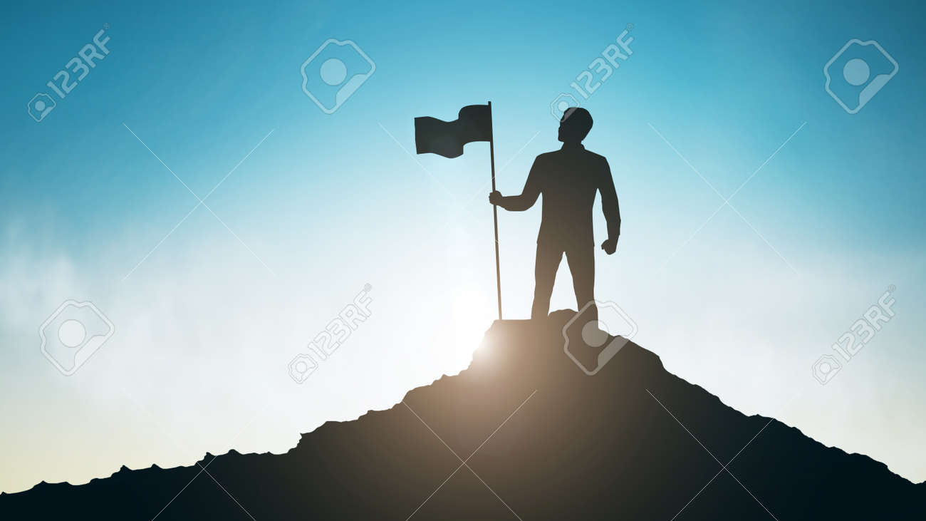 Silhouette of man with flag on mountain top over sky and sun light background - 123589888