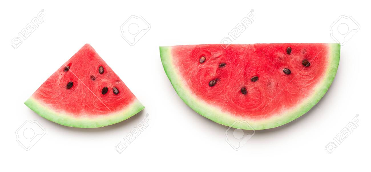 Semicircle and triangle shaped ripe watermelon slices isolated on white background, panorama - 123770663