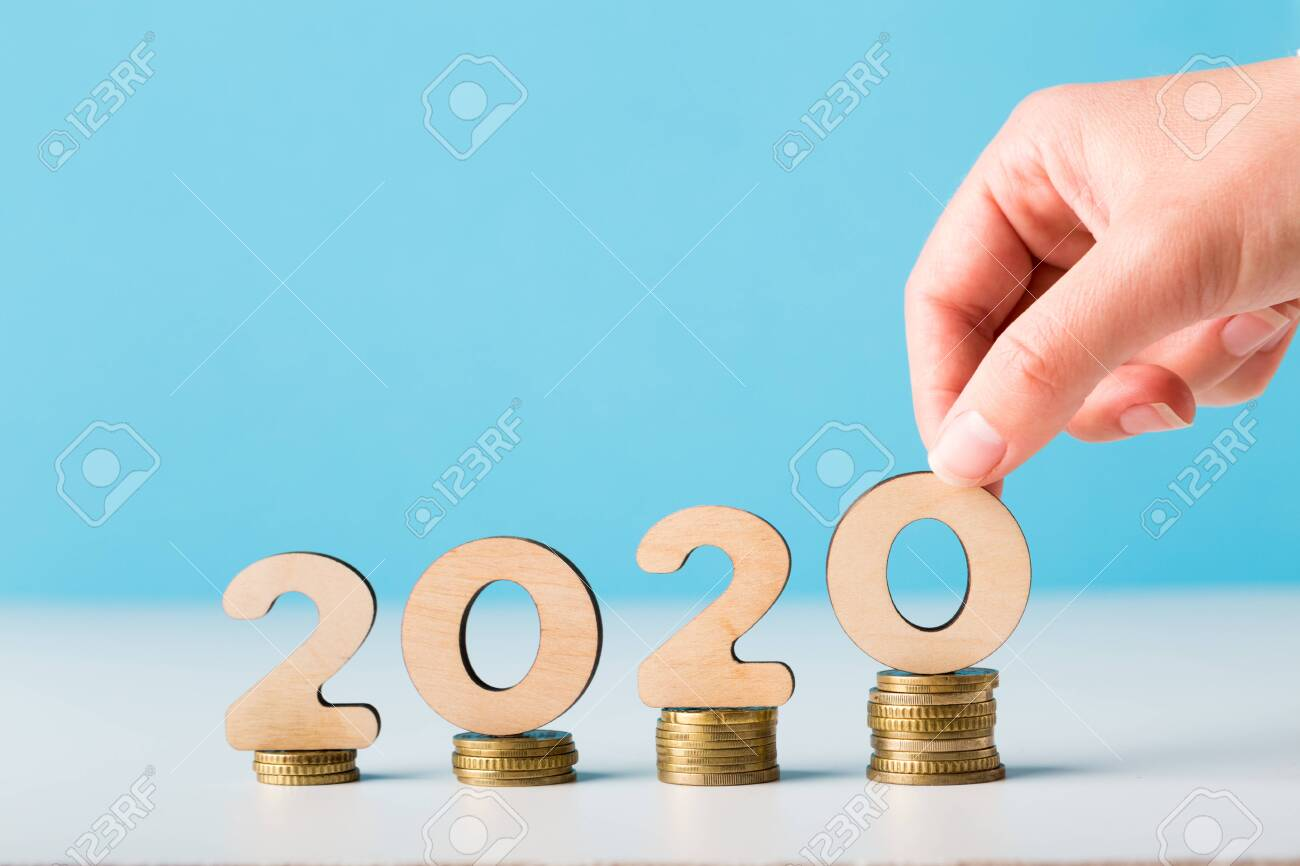 Financial budget planning for 2020 new year with growth of income, copy space - 127460905
