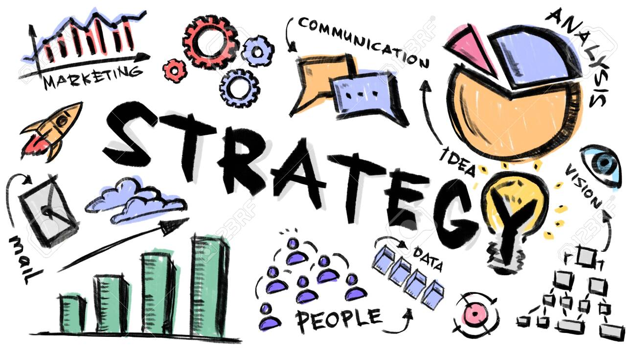 Creative illustration with business strategy notions, graphs and drawings on white background, panorama - 147801296