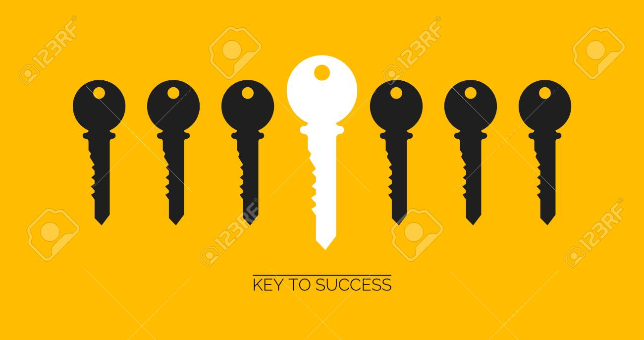 Success and uniqueness concept. White key standing out among others on yellow background, creative vector illustration. Panorama - 148262913