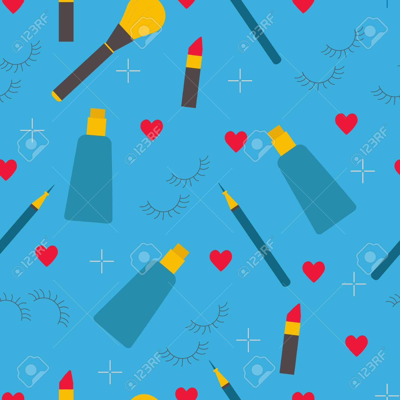 Makeup And Skin Care Products On Blue Background Vector Seamless Royalty Free Cliparts Vectors And Stock Illustration Image 148899882