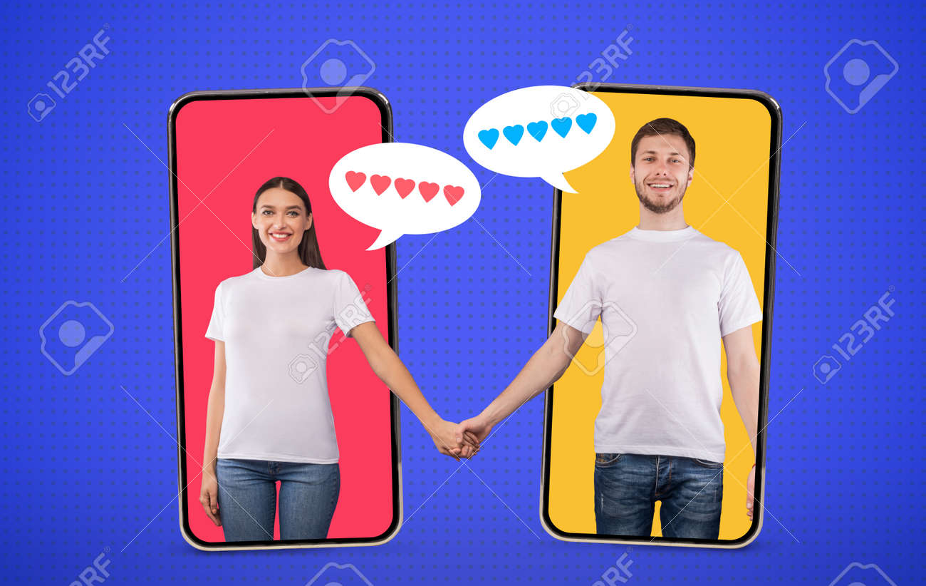 Togetherness Concept. Collage in comic style of couple holding hands standing inside phone screens, bubbles with hearts - 151880854