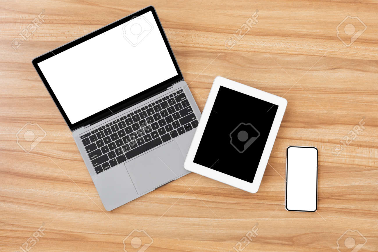 Set of modern technology devices template for responsive design presentation. Mock up of laptop, phone and tablet - 154867899