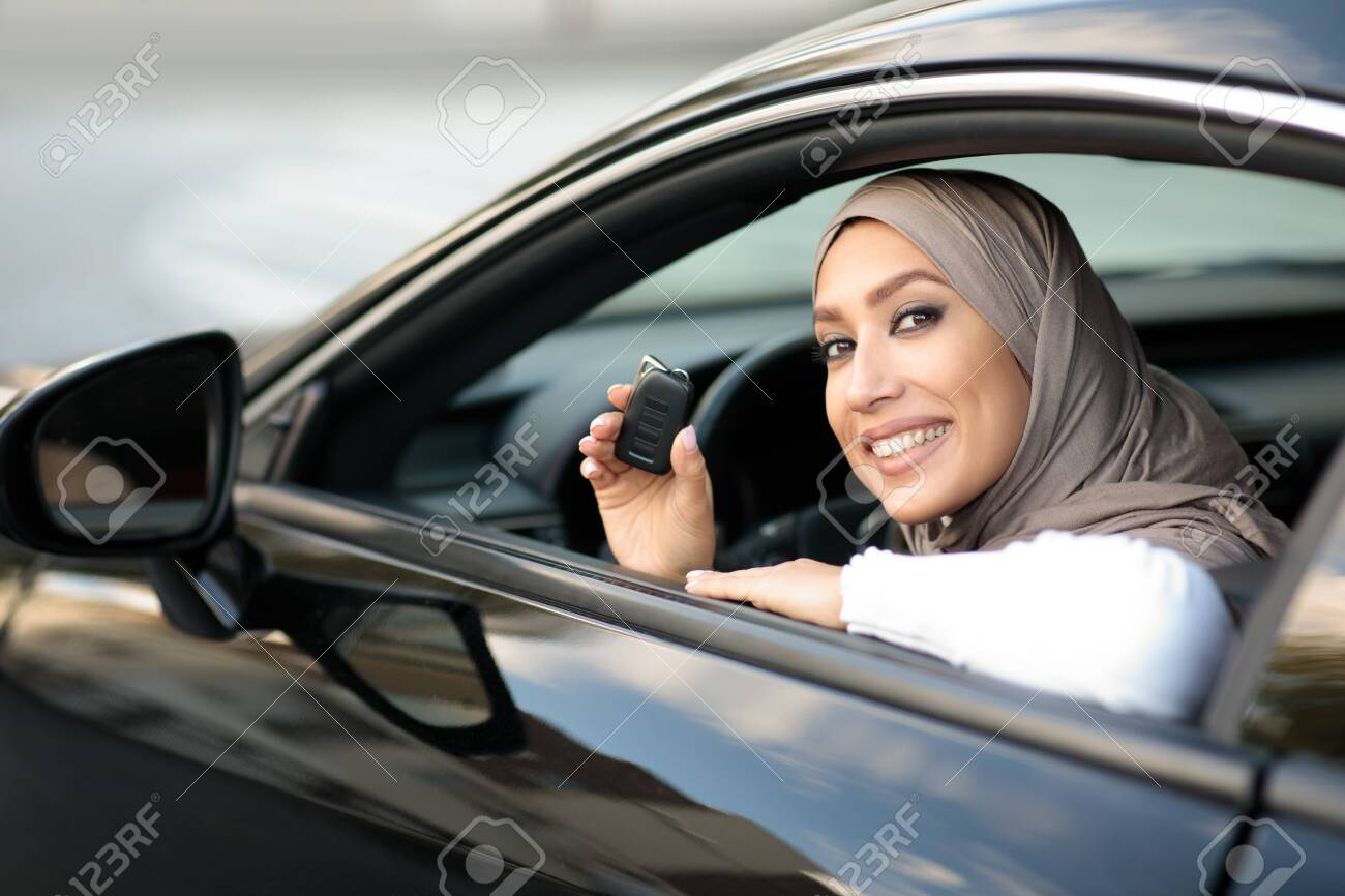 Own Auto Portrait Of Smiling Beautiful Muslim Woman In Headscarf Stock Photo Picture And Royalty Free Image Image 158152837